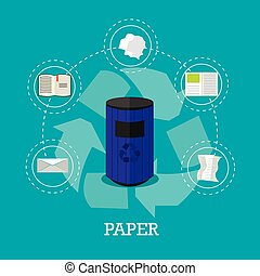 Garbage recycle concept vector illustration in flat style. Paper waste recycling poster and icons.