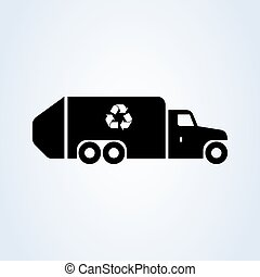 garbage, recycle truck. Simple vector modern icon design illustration.