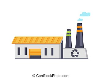 Garbage Recycling Facility Vector Illustration