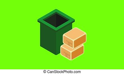 Garbage recycling icon animation