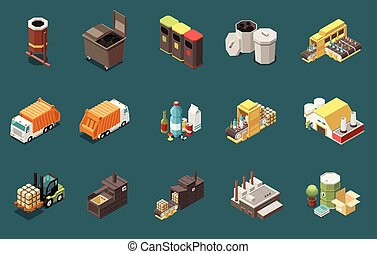Garbage Recycling Isometric Icons Set