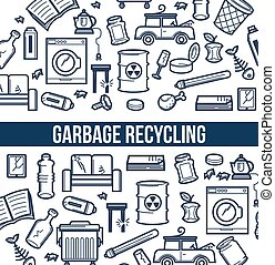 Garbage recycling promotional poster with sketch...
