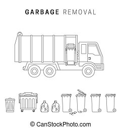 Garbage removal line drawing