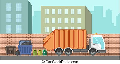 Garbage removal service dustcart vector flat city - Garbage...