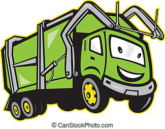 Illustration of garbage rubbish truck done in cartoon style on isolated white background.