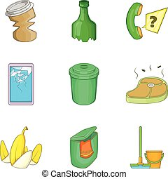 Garbage service cleaning icon set, cartoon style