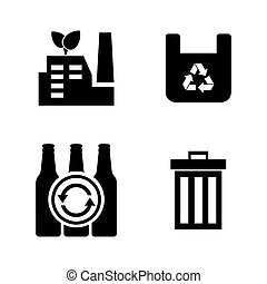 Garbage. Simple Related Vector Icons