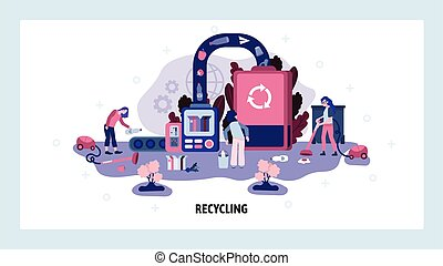 Garbage sorting and recycling factory. Trash recycle ecology concept. People collect waste ans send to recycle plant. Vector web site design template. Landing page website illustration