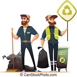 Garbage Sorting Collecting Recycling Cartoon Illustration -...