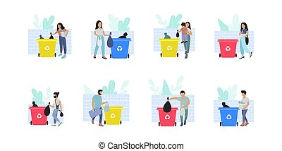 Garbage sorting - Collection of people sorting garbage into ...