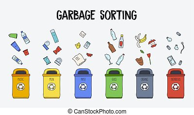 Garbage sorting concept. Trash cans with different types of garbage. Colorful hand drawn doodle illustration.