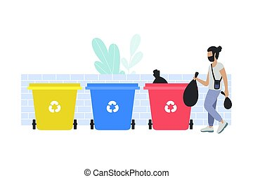 Garbage sorting - illustration of man sorting garbage into ...