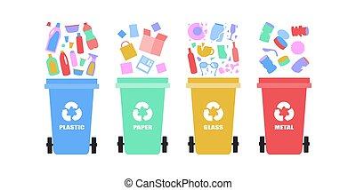 Garbage sorting - illustration of sorting garbage into trash...