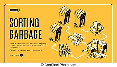 Garbage sorting service isometric vector website - Waste and...