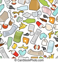 Garbage texture. Rubbish seamless pattern. trash ornament....