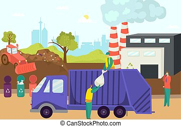 Garbage trash at waste recycle factory, vector illustration. Environment plant technology concept, flat industry for ecology.