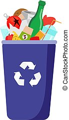 Garbage trash bin with waste. Bottles, plastic, glass and other household rubbish. Isolated vector clip art