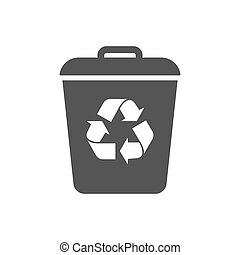 Garbage Trash can Vector Icon. Eco Bio concept, recycling. Flat design illustration isolated on white background. Black. Sign for web, website. EPS 10