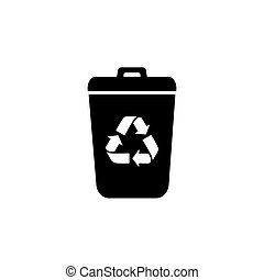 Garbage Trash can Vector Icon. Eco Bio concept, recycling. Flat design illustration isolated on white background. Black sign for web
