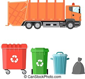 Garbage truck and four variants of dumpsters