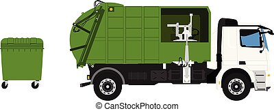 Garbage truck and green plastic container isolated on white background.