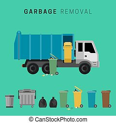 Garbage truck and waste cuns