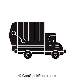 Garbage truck black vector concept icon. Garbage truck flat illustration, sign