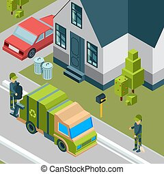 Garbage truck. Cleaning service removing trash from city street waste recycling concept vector isometric background