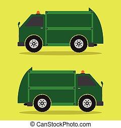 Garbage Truck flat design in green color. Vector illustration.