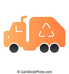 Garbage truck flat icon. Vehicle color icons in trendy flat style. Trash car gradient style design, designed for web and app. Eps 10.