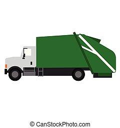 Garbage truck flat illustration on white