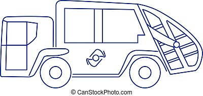 Garbage truck icon blue vector illustration isolated