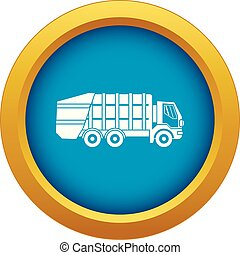 Garbage truck icon blue vector isolated