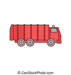 Garbage truck icon, cartoon style
