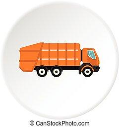 Garbage truck icon circle