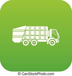Garbage truck icon digital green