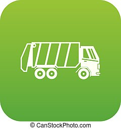 Garbage truck icon digital green