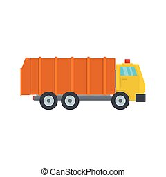 Garbage truck icon, flat style
