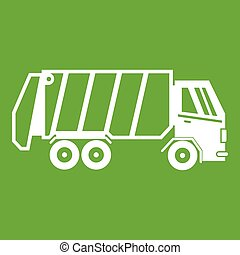 Garbage truck icon green