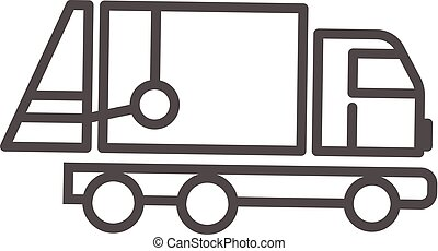 Garbage truck icon, outline style - Garbage truck icon....