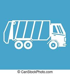 Garbage truck icon white