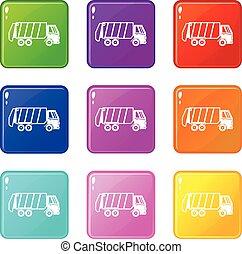 Garbage truck icons 9 set