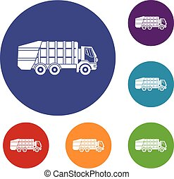 Garbage truck icons set