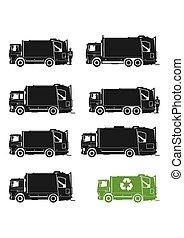 Garbage truck icons.