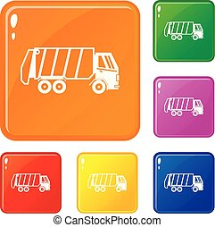 Garbage truck icons set vector color