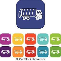 Garbage truck icons set