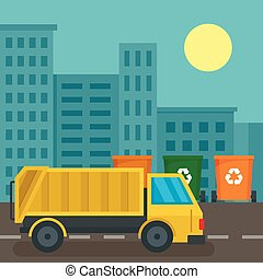 Garbage truck in city concept background, flat style