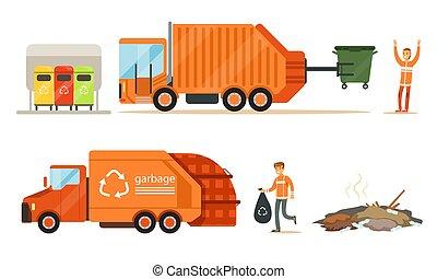 Garbage truck loads garbage. Set of vector illustrations.