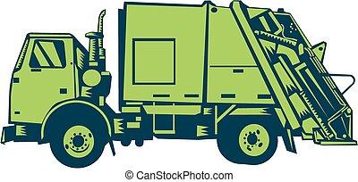 Garbage Truck Rear End Loader Side Woodcut - Illustration of...