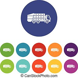 Garbage truck set icons
